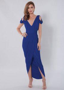 Rochie de seara si de ocazie eleganta lunga, albastra cu maneci