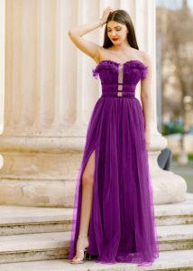 Rochie de seara si de ocazie eleganta lunga mov-ultraviolet, cu crapatura, din tulle Efess