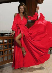 Rochie de seara si de ocazie eleganta lunga, rosie cu cordon in talie, din satin, Nicole
